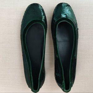Gucci Green Sequin Flats